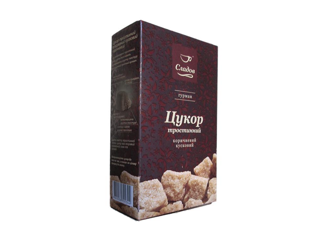 Сахар Сладов тростниковый коричневый кусковой 500г