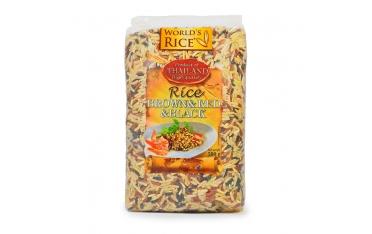 Рис «World's rice» коричневый, красный и черный 500г