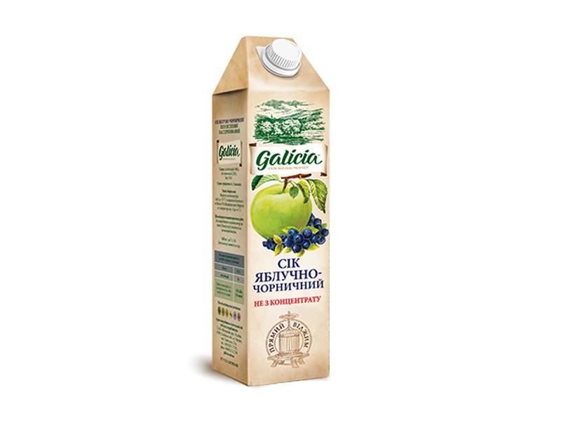 Сок Galicia яблочно-черничный тетрапакет 1л