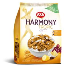 Хлопья мультизерновые с тропическими фруктами AXA Harmony 400г - FreshMart