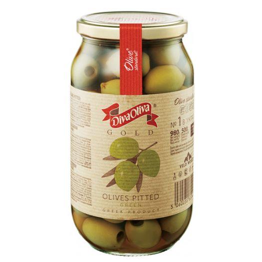 Оливки Diva Oliva Gold зелені без кісточки 1л - FreshMart