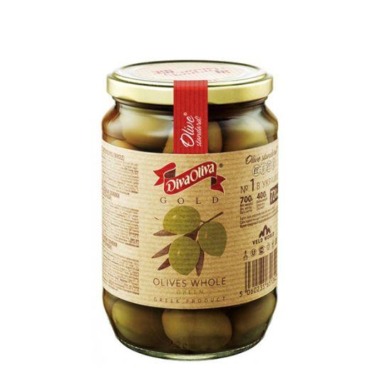 Оливки Diva Oliva Gold зеленые с косточкой 720мл - FreshMart