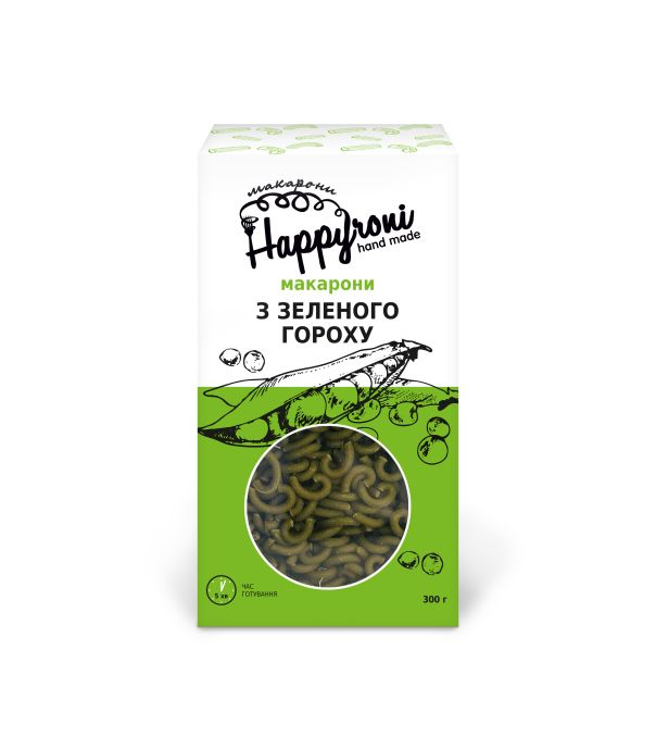 Макароны из зеленого гороха мини-трубочки Happyroni 300г - FreshMart