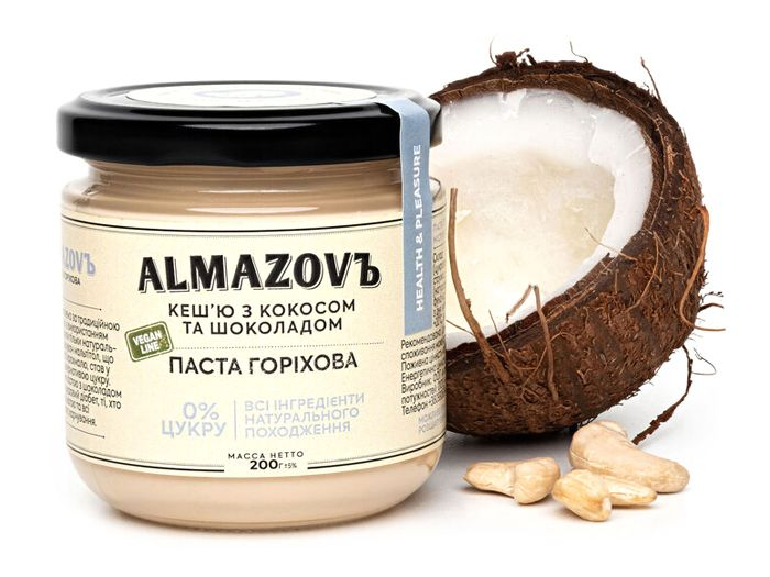 Паста кеш'ю з кокосом та шоколадом Almazovъ 200г - FreshMart