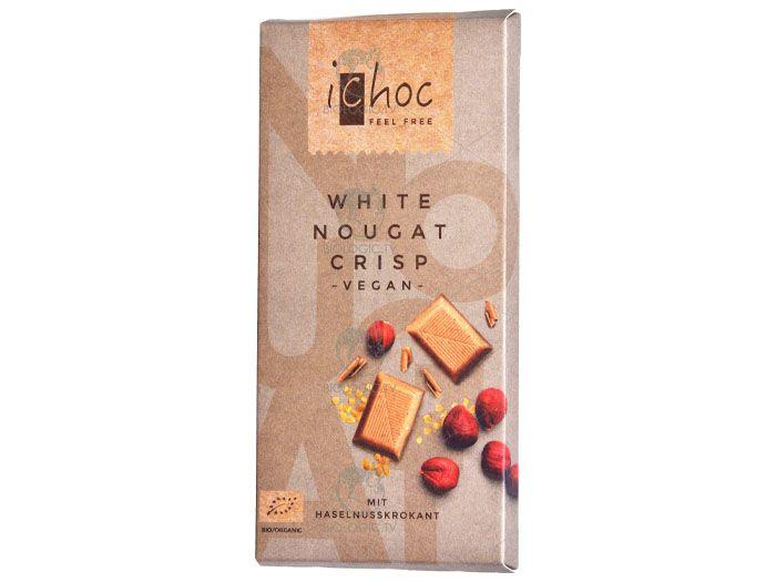 Шоколад белый с нугой органический iChoc White Nougat Crisp 80г - FreshMart