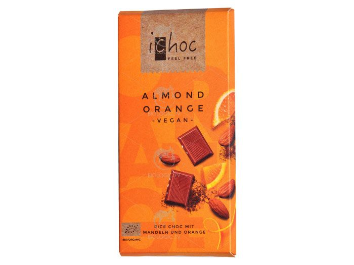 Шоколад миндаль-апельсин органический iChoc Almond Orange 80г - FreshMart