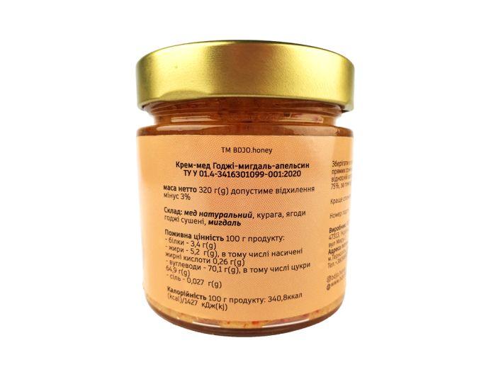 Крем-мед годжі-мигдаль-абрикос BDJO 300г: фото 2 - FreshMart