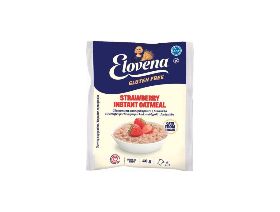 Каша овсяная быстрого приготовления без глютена с клубникой Elovena 40 г - FreshMart