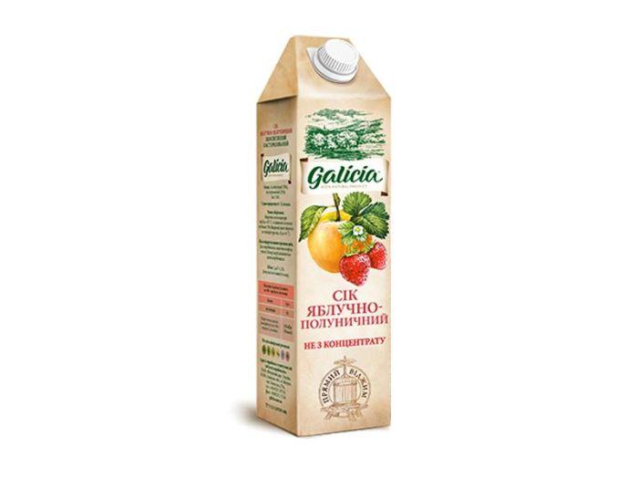 Сік Galicia яблучно-полуничний тетрапакет 1л - FreshMart