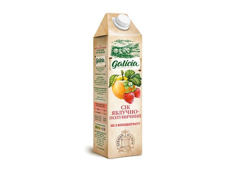 Сок Galicia яблочно-клубничный тетрапакет 1л - FreshMart