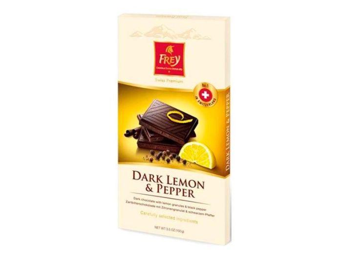 Шоколад Frey черный с лимоном и черным перцем 100г - FreshMart
